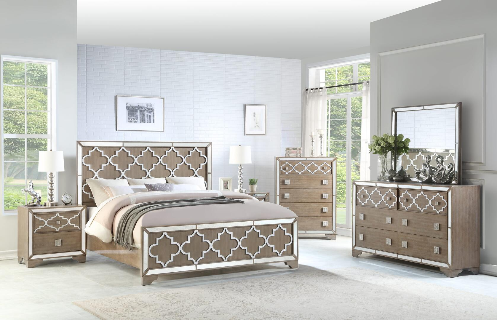 Cosmos Furniture Ivony 6 Piece King Size Bedroom Set