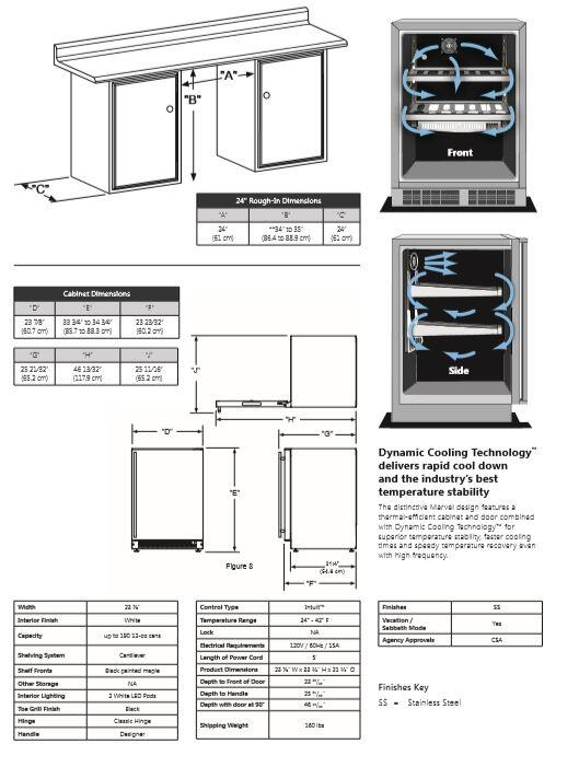 marvel ml24ras1rs 24 inch stainless steel compact refrigerator