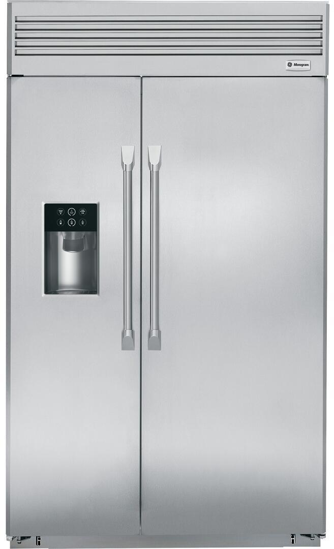 ge monogram zisp480dhss 48 inch monogram series counter depth side by side refrigerator with 28