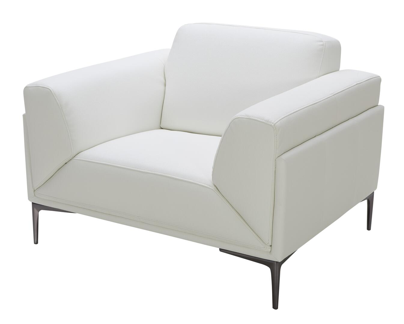 J And M Furniture 18248c Davis Series Leather Armchair With Wood Frame In White Appliances