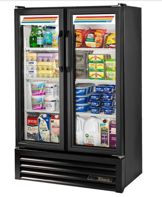 True GDM36SLHCLD 36 Inch Freestanding Glass Door Refrigerator ...