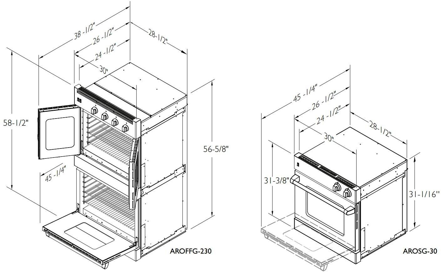 american range arossg230n 30 inch stainless steel double wall oven