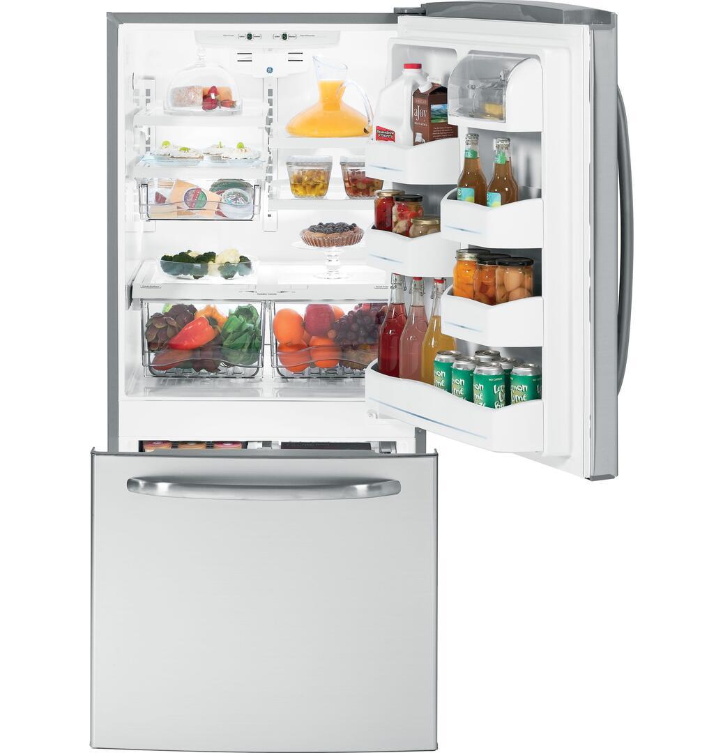 Ge Gdsl0kcxls Bottom Freezer Refrigerator With 20 2 Cu Ft