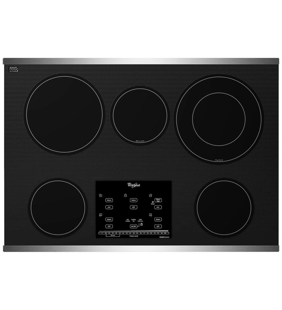whirlpool g9ce3065xb 30 inch gold series electric cooktop in black appliances connection. Black Bedroom Furniture Sets. Home Design Ideas