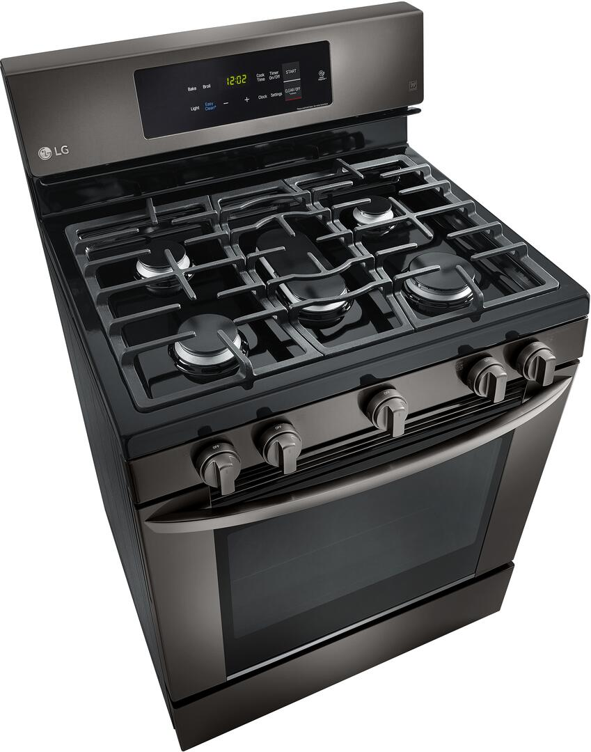 Kitchen gas stove top view -  Lg Black Stainless Steel Top Angle View