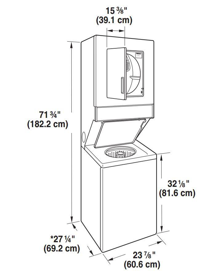 Whirlpool lte5243dq 24 inch electric laundry center appliances whirlpool thin twin dimensions fandeluxe Image collections