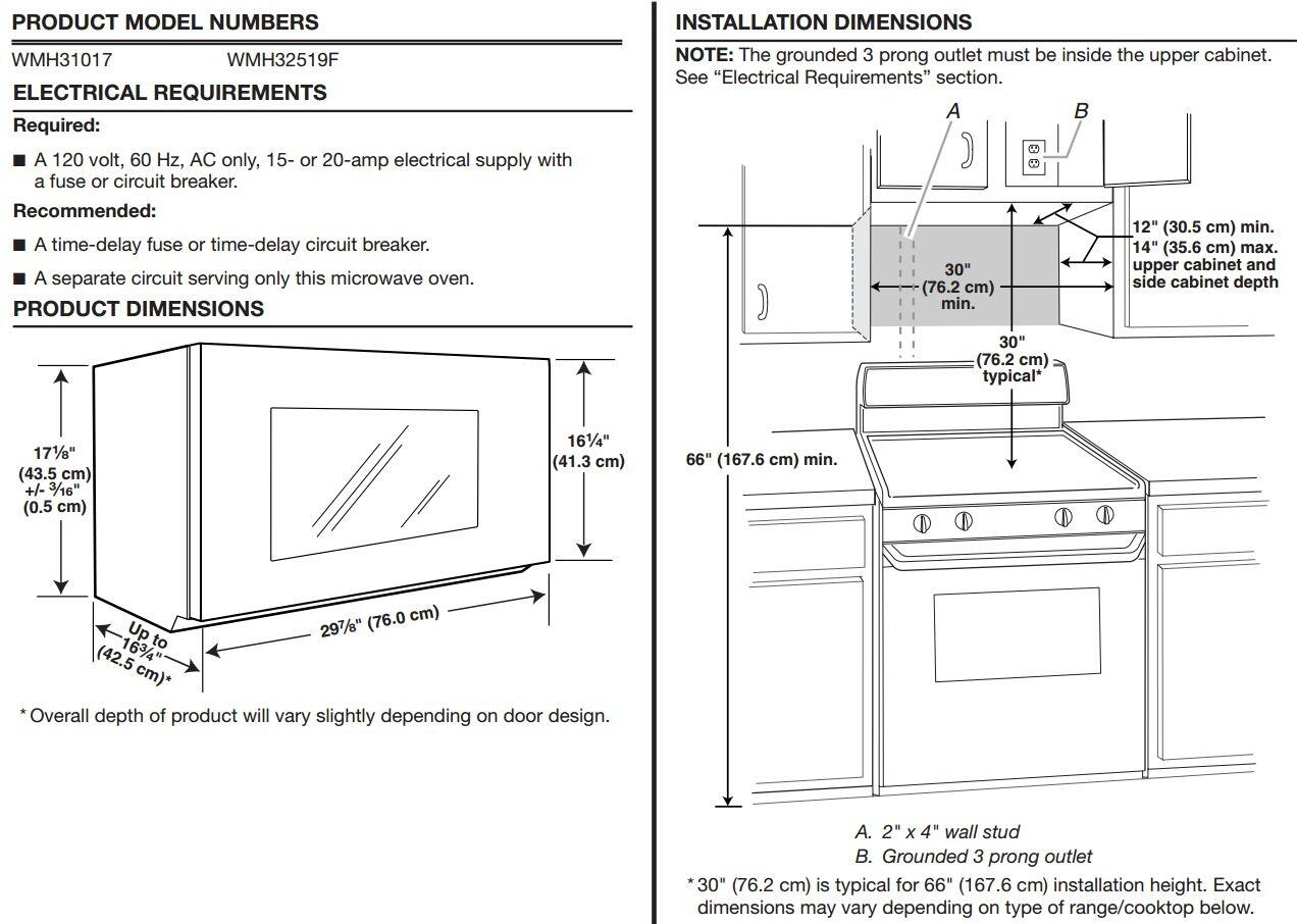 microwave cabinet height