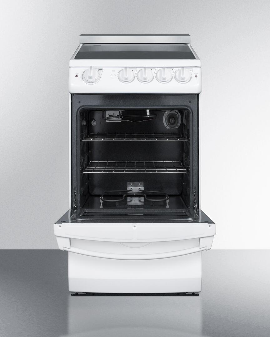 Electric Range Smooth Top Cooking Surface Summit On In: Summit REX205WRT 20 Inch Electric Freestanding Range With