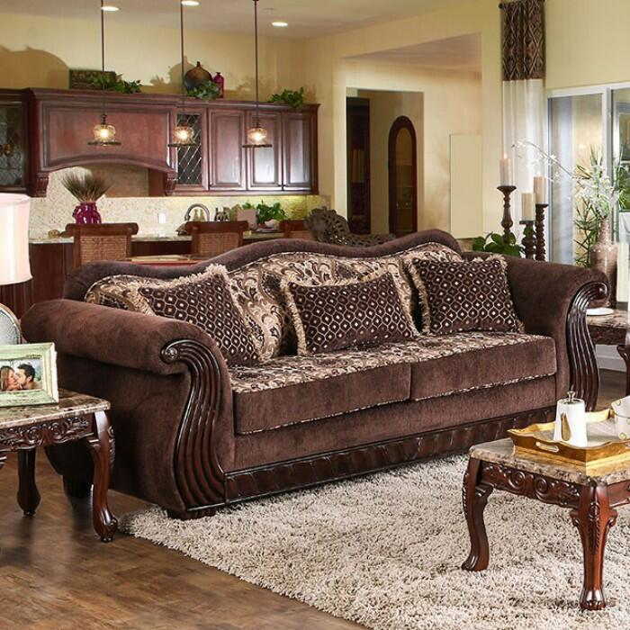 Furniture of america sm6210sf kensett series chenille sofa for Living room of satoshi tax
