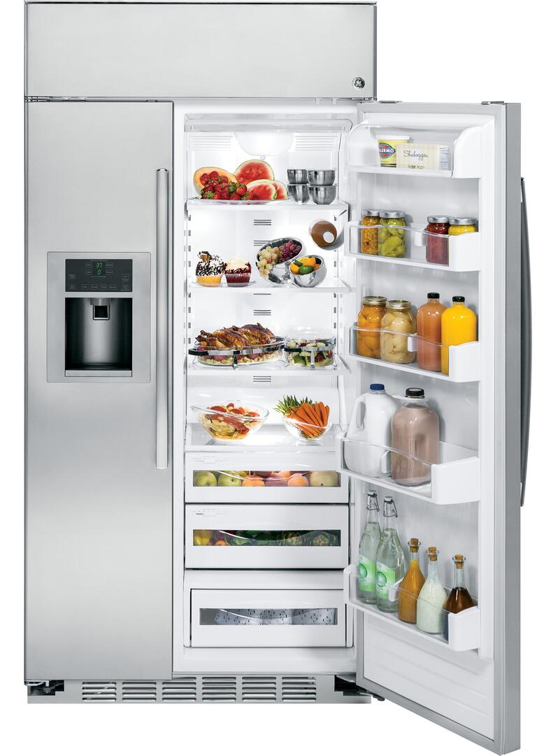 ge profile psb48yshss 48 inch side by side refrigerator with 28 6 cu  ft  capacity in stainless
