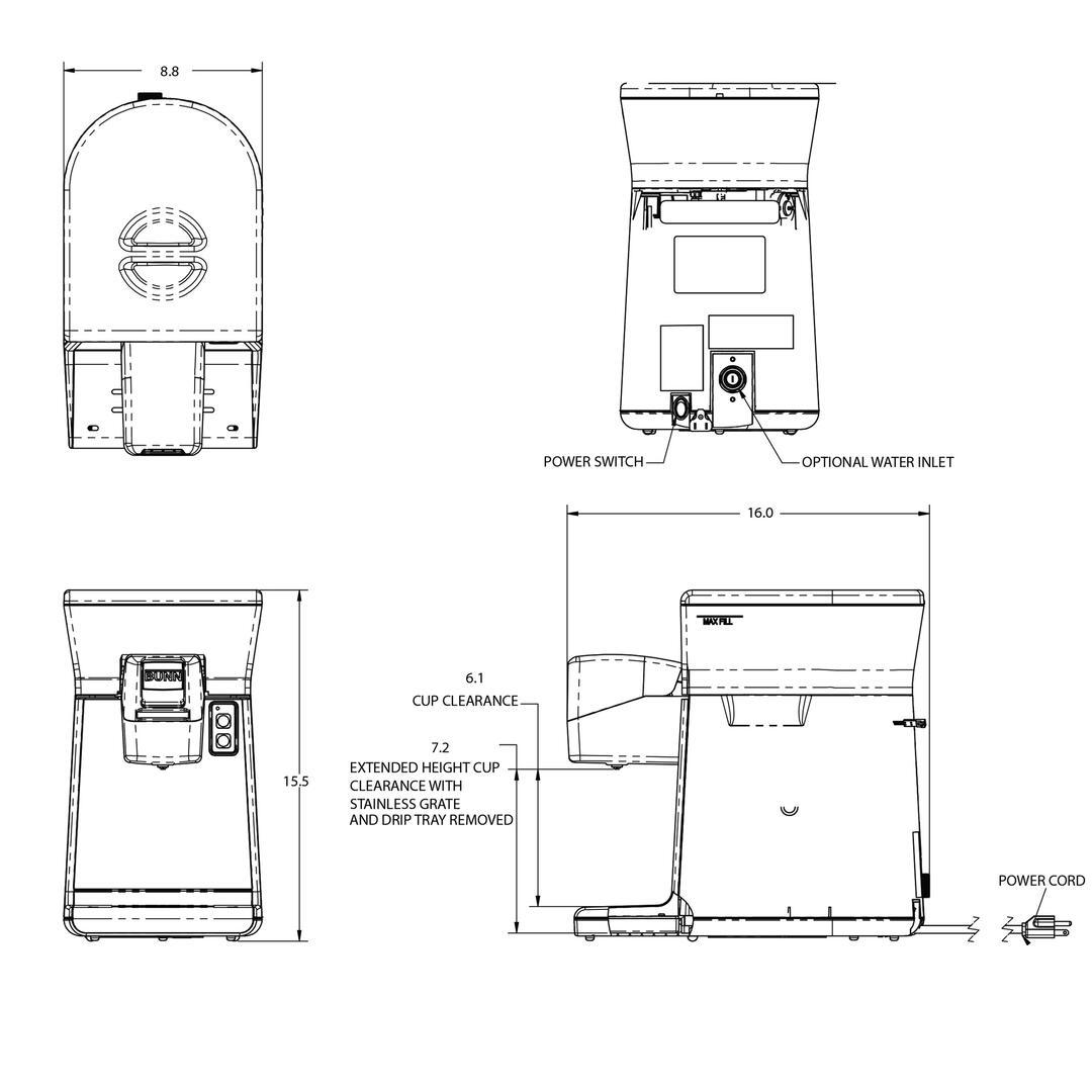 Bunn O Matic 446000000 88 Inch Countertop Coffee And Tea Brewing Wire Diagrams Dimension Diagram