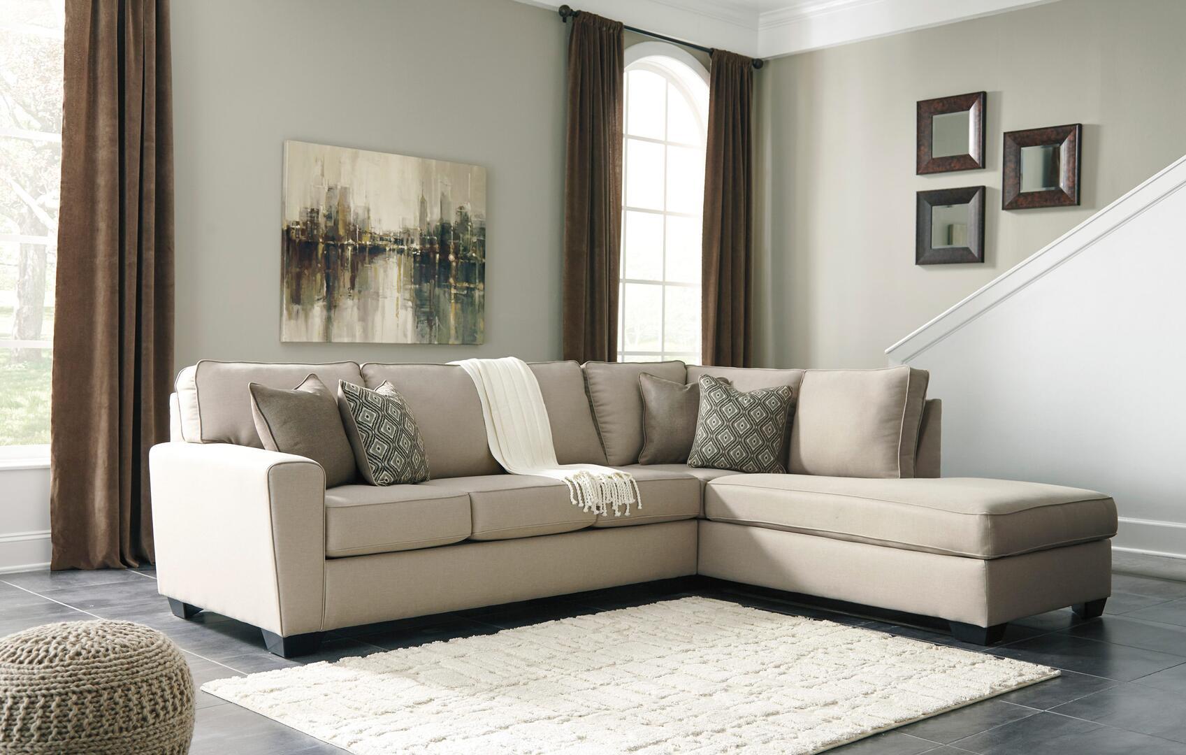 milo italia mi48095238ecru baylee series stationary fabric sofa