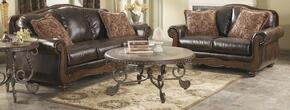 5530038SET Barcelona 6-Piece Living Room Set with Sofa, Loveseat, T382-8 Cocktail Table, T382-6 End Table, T382-7 Chairside Table and T382-4 Sofa Table in Antique Brown