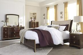 Lenmara Queen Bedroom Set with Panel Bed, Dresser, Mirror, 2 Nightstands and Chest in Reddish Brown