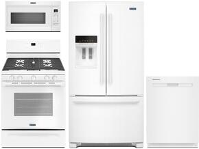 "4-Piece White Kitchen Package with MFI2570FEW 36"" French Door Refrigerator, MGR6600FW 30"" Gas Range, MDB8959SFH 24"" Fully Integrated Dishwasher and MMV1174FW 30"" Over-the-Range Microwave"