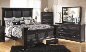 Cavallino Queen Bedroom Set with Poster Storage Bed, Dresser, Mirror and Chest in Black