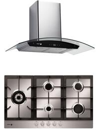 """2 Piece Stainless Steel Kitchen Package with FA-850STX 30"""" Gas Cooktop and 60CFG-30B 30"""" Range Hood"""