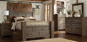 Juararo Queen Bedroom Set with Poster Storage Bed, Dresser, Mirror and Nightstand in Dark Brown