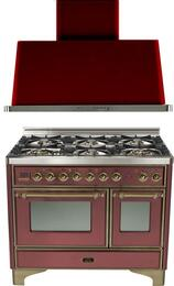 "2-Piece Burgundy Kitchen Package with UMD1006DMPRBY 40"" Freestanding Dual Fuel Range (Oiled Bronze Trim, 6 Burners, Timer) and UAM100RB 40"" Wall Mount Range Hood"
