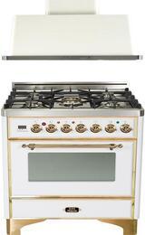 "2-Piece True White Kitchen Package with UM76DMPB 30"" Freestanding Dual Fuel Range (Brass Trim, 5 Burners, Timer) and UAM76B 30"" Wall Mount Range Hood"