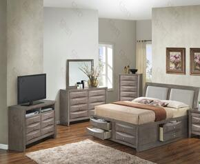 G1505IFSB4CHDMTV2 5 Piece Set including  Full Size Bed, Chest, Dresser, Mirror and Media Chest  in Gray