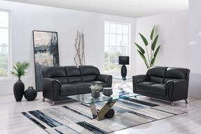 U9103-BL-SLS 2-Piece Living Room Set with Sofa and Loveseat in Black