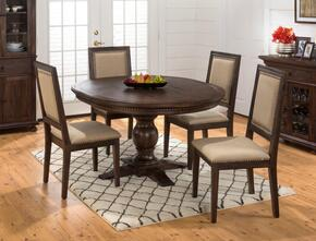 678-60TBKTSET Geneva Hills Round to Oval Pedestal Dining Table with 4 Upholstered Chairs