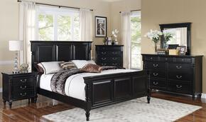 00222QBDMNC Martinique 5 Piece Bedroom Set with Queen Bed, Dresser, Mirror, Nightstand and Chest, in Rubbed Black