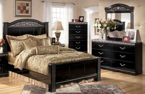 Constellations Queen Bedroom Set with Panel Bed, Dresser and Mirror in Deep Glossy Black