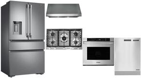 "Dacor 5 Piece Stainless Steel Kitchen Package With RNCT365GSNGH 36"" Gas Cooktop, DTO130B 30"" Electric Wall Oven, DTF36FCS 36"" French Door Refrigerator, DHW301 30"" Range Hood and DDW24S Built In Dishwasher"