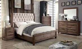 Hutchinson Collection CM7577QBEDSET 5 PC Bedroom Set with Queen Size Panel Bed + Dresser + Mirror + Chest + Nightstand in Rustic Natural Tone Finish