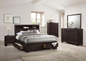 Madison II Collection 19560QSET 5 PC Bedroom Set with Queen Size Bed + Dresser + Mirror + Chest + Nightstand in Espresso Finish