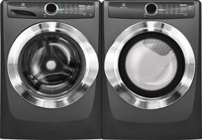 """Titanium Front Load Laundry Pair with EFLS517STT 27"""" Washer and EFME517STT 27"""" Electric Dryer"""