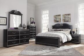 Navoni Queen Bedroom Set with Panel Bed, Dresser, Mirror, Chest and 2 Nightstands in Black