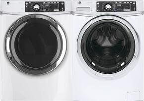 "White Front Load Laundry Pair with GFW480SSKWW 28"" Washer and GFD48GSSKWW Gas Dryer"