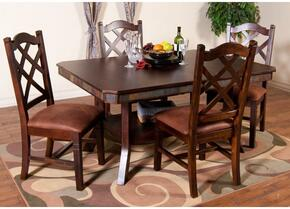 Santa Fe Collection 1151DCDT4C 5-Piece Dining Room Set with Dining Table and 4 Chairs in Dark Chocolate Finish