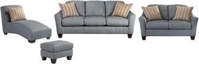 Hannin Collection 95802SLCLO 4-Piece Living Room Set with Sofa, Loveseat, Chaise Lounge and Ottoman in Lagoon