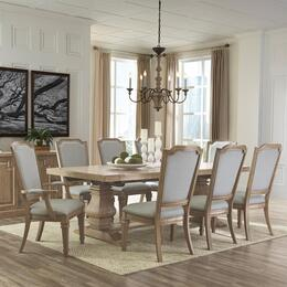 Florence Collection 180201SET 9 PC Dining Room Set with Dining Table + 6 Side Chairs + 2 Arm Chairs in Rustic Smoke Finish