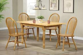 Sunset Selections Collection DLU-TLB3660-820-LO5PC 5 Piece Butterfly Dining Set with Rectangular Table + 4 Arrowback Chairs