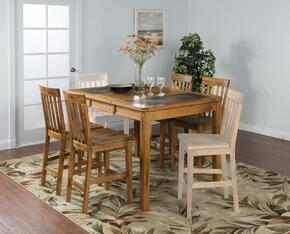 Sedona Collection 1274RO 5-Piece Dining Room Set with Table and 4 Barstools in Rustic Oak Finish