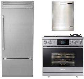 "3-Piece Stainless Steel Kitchen Package with DYF36BFTSR 36"" Bottom Freezer Refrigerator, DOP36M94DPS 36"" Freestanding Dual Fuel Range, and a free RDW24S 24"" Built In Fully Integrated Dishwasher"