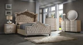 Diamond DIAMONDCANOPYKSET 5 PC Bedroom Set with King Size Canopy Bed + Dresser + Mirror + Chest + Nightstand in Golden Beige Color