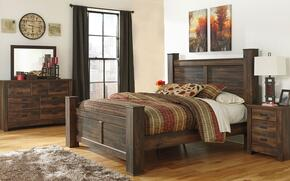 Quinden King Bedroom Set with Poster Bed, Dresser, Mirror and Nightstand in Dark Brown