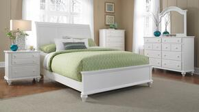 Hayden Place Collection 6 Piece Bedroom Set With King Size Sleigh Bed + 2 Nightstands + Dresser + Drawer Chest + Mirror: White