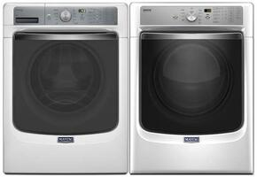 "White Front Load Laundry Pair With MHW8150EW 27"" Washer and MGD8200FW 27"" Gas Dryer"