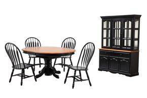 DLU-TBX4866-4130-22BHAB7PC 7-Piece Dining Room Set with Pedestal Dining Table, 4x Side Chairs and China Cabinet in Antique Black with Cherry Finish