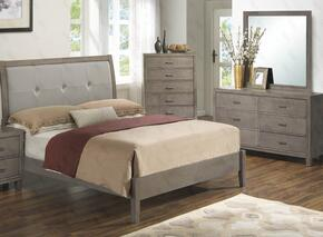 G1205ATBDM 3 Piece Set including  Twin Bed, Dresser and Mirror with Padded HeadBoard, Tapered Legs and Wood Frame in Grey