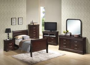 G3125ATBSET 6 PC Bedroom Set with Twin Size Sleigh Bed + Dresser + Mirror + Chest + Nightstand + Media Chest in Cappuccino Finish