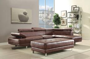 Milan Collection G457SCSET 2 PC Sectional Sofa with Sectional Sofa + Ottoman in Brown Color