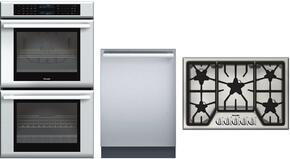"3-Piece Stainless Steel Kitchen Package with ME302JS 30"" Double Electric Wall Oven, SGS305FS 30"" Gas Cooktop and DWHD440MFM 24"" Fully Integrated Dishwasher"